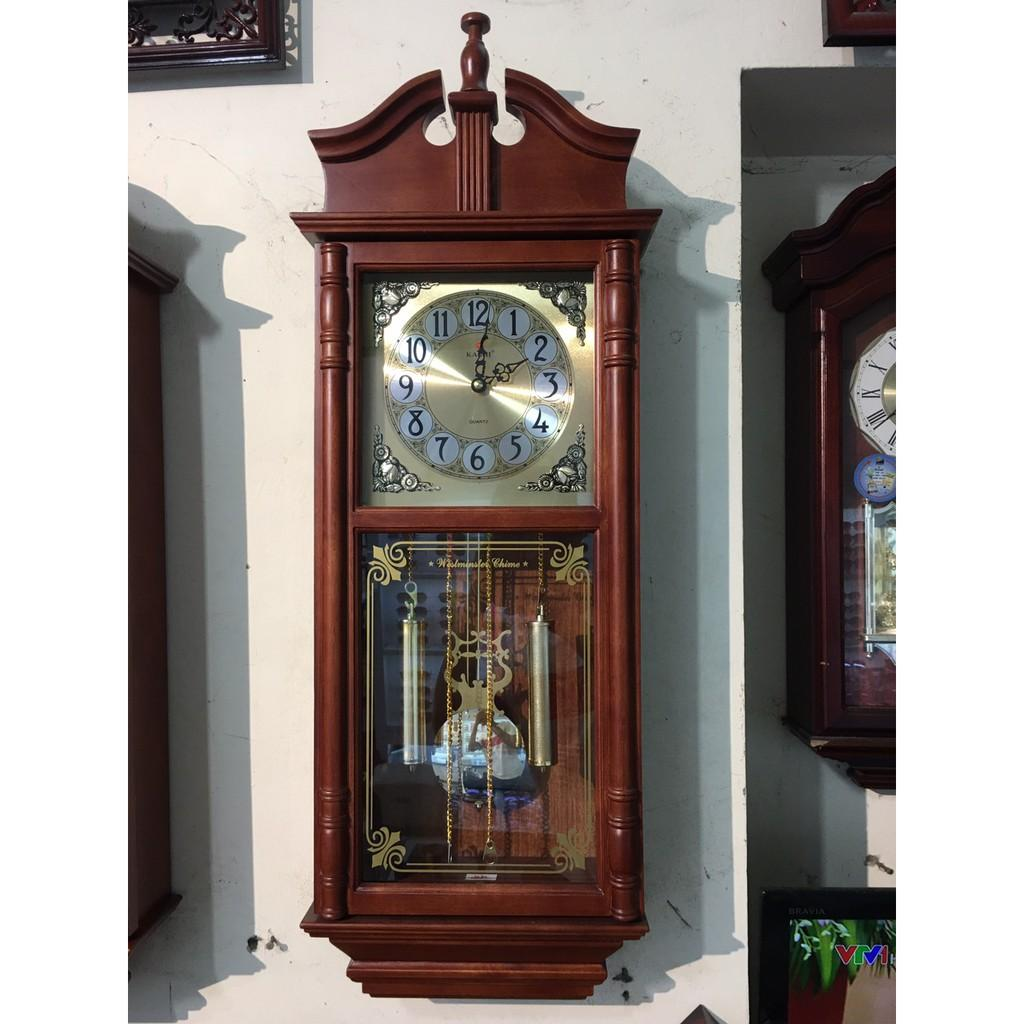 Đồng hồ treo tường quả lắc KASHI KN627 vỏ gỗ tự nhiên có nhạc chuông