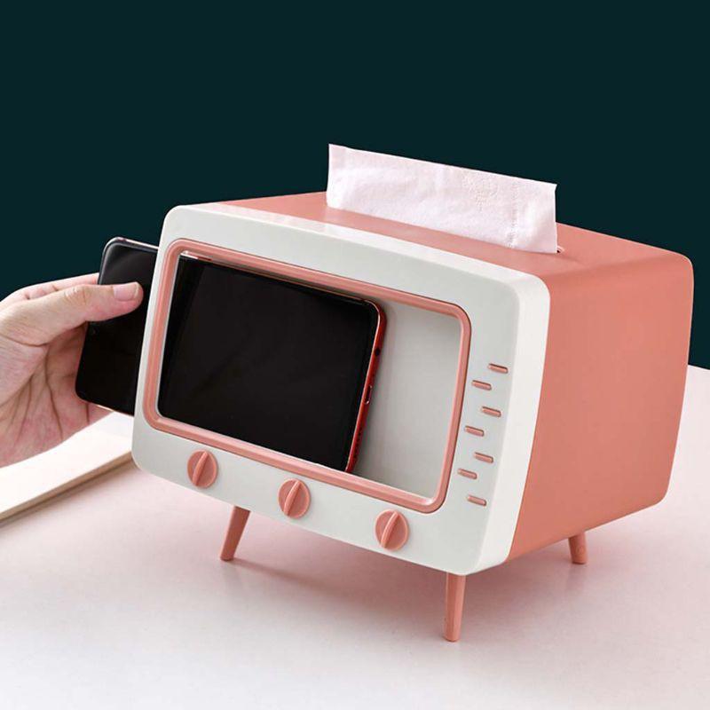 Hộp đựng giấy ăn hình TIVI cổ điển độc đáo, khay rút giấy ăn đa năng có ngăn để điện thoại