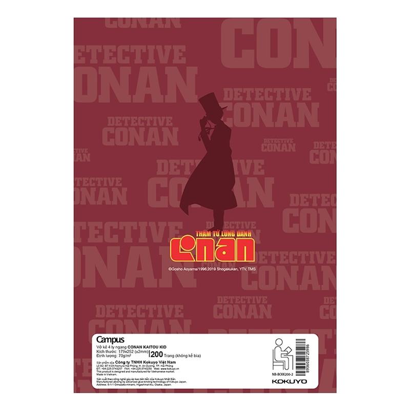 Vở Campus Conan Kaitou Kid 200 Trang - 4 Ly Ngang - NB-BCKK200 (Lốc 5 Cuốn) - Mẫu 2