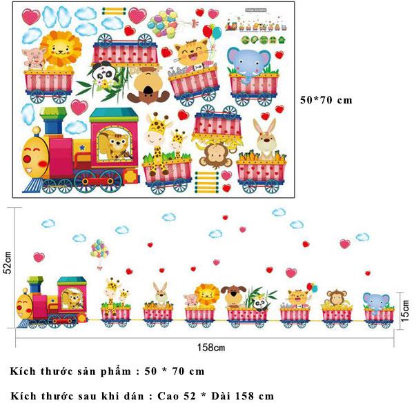 Decal dán tường đoàn tàu động vật cho bé SK7064