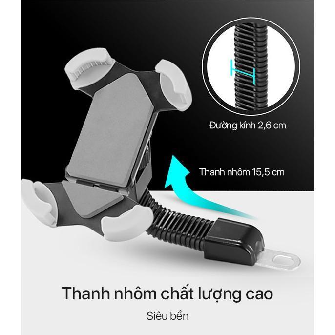 Giá Đỡ Điện Thoại Trên Xe Máy Thương Hiệu ROBOT Có 4 Góc Kẹp Chắc Chắn Thích Hợp Cho Màn Hình 4-5.5 inch - Hàng Chính Hãng