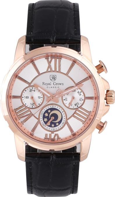 Đồng hồ nam Royal Crown 8425 dây da đen vỏ vàng hồng - hàng chính hãng