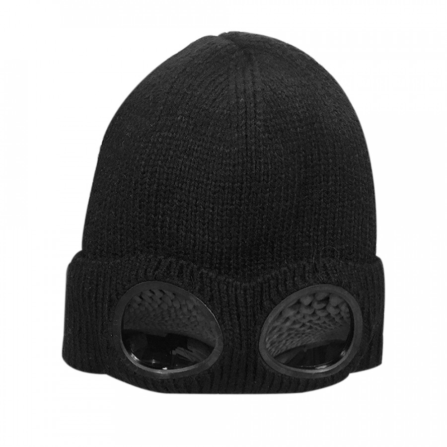 Winter Knitted Skull Hat Thickened Warm Stretchy Beanie Ski Cap Removable Glasses Plush Lining Double-Use For Men Women - Black