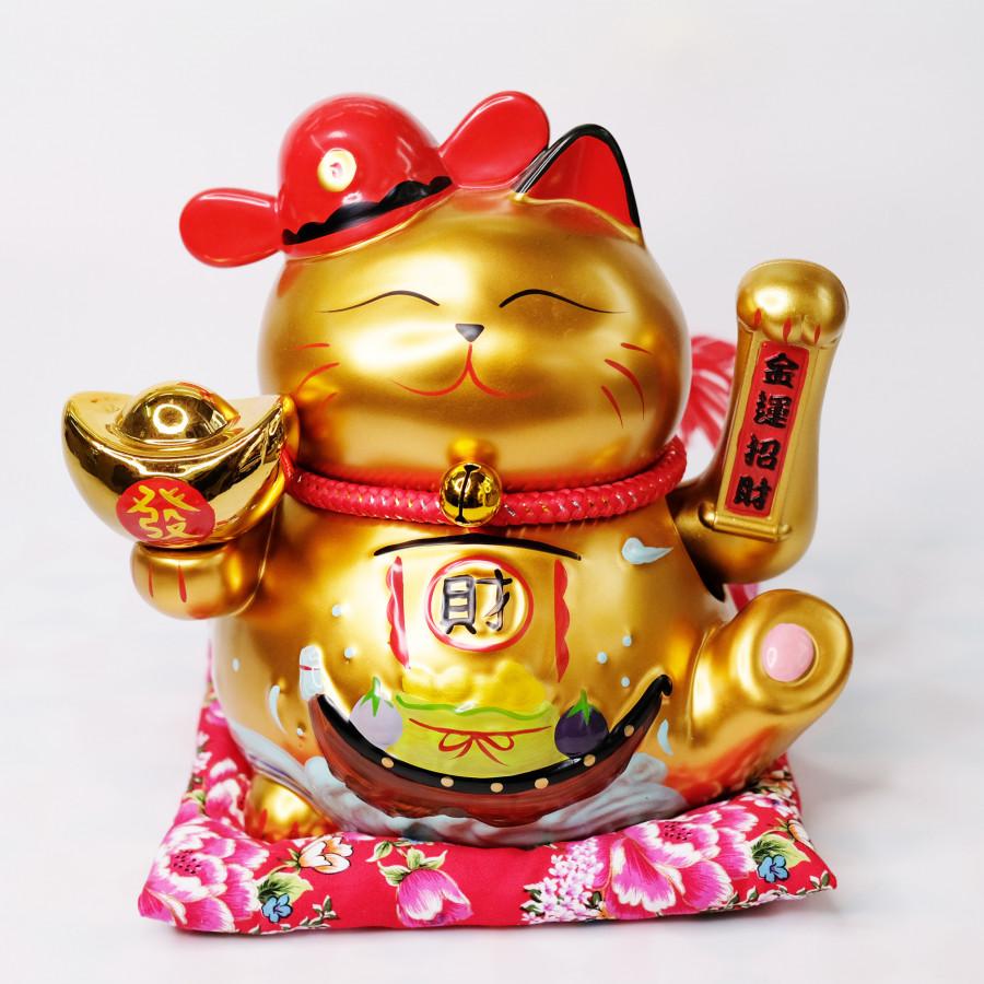 Mèo Thần tài Vẫy tay Mũ quan đỏ GOLD 25cm