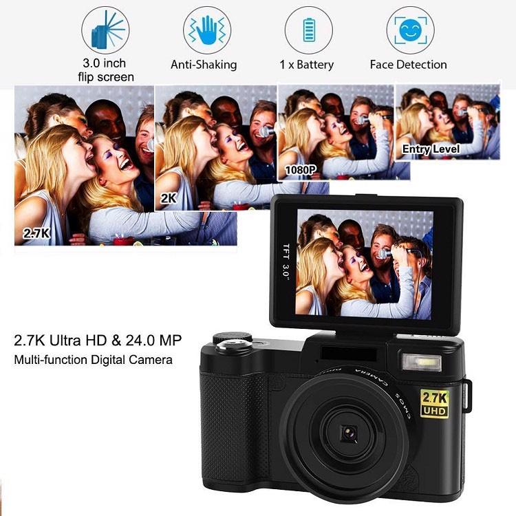 Máy ảnh kĩ thuật số mini tích hợp máy quay phim Aturos ES-CDRW Vlog 2.7K Ultra HD, Màn hình lật 180 độ, 3 inches, kết nối wifi (tích hợp ống kính góc rộng và macro) - Hàng chính hãng