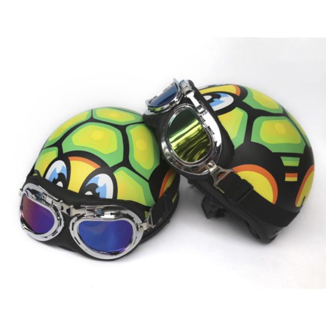 Mũ bảo hiểm nữa đầu (tem rùa) +Kính phi công màu ngẫu nhiên