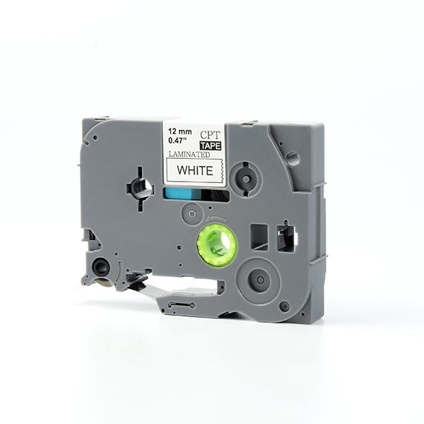 Tape nhãn in tương thích CPT-231 dùng cho máy in nhãn Brother P-Touch (chữ đen nền trắng, 12mm)