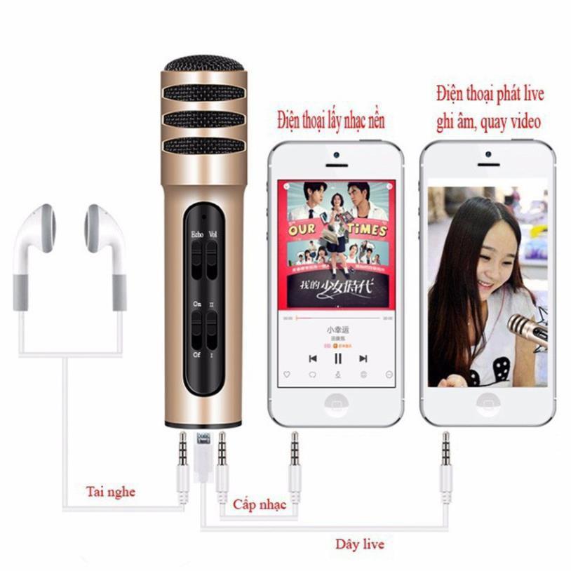 Micro hát karaoke tích hợp live stream C7 cao cấp - cho hiệu ứng âm thanh cực đỉnh, có pin sạc