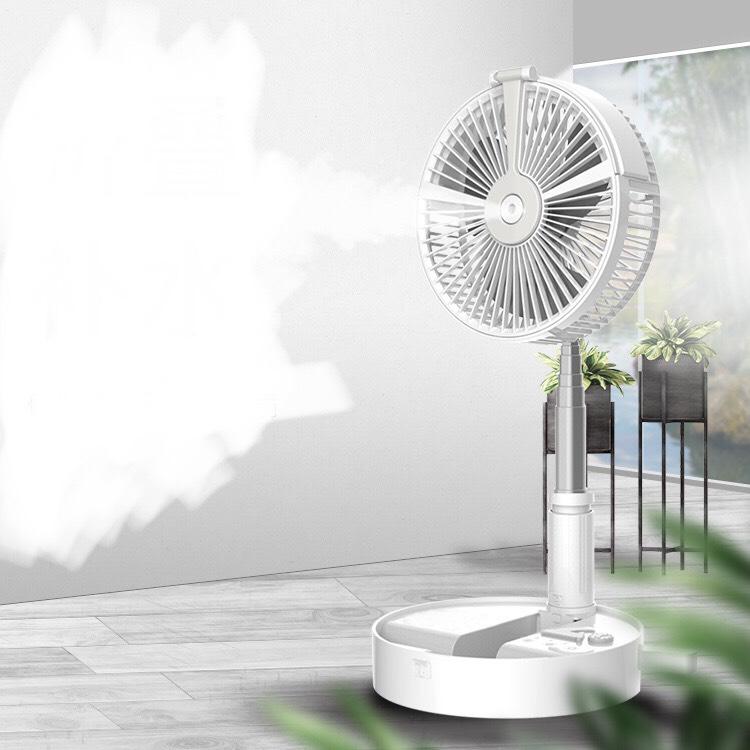 Quạt gấp tích điện phun sương có đèn led