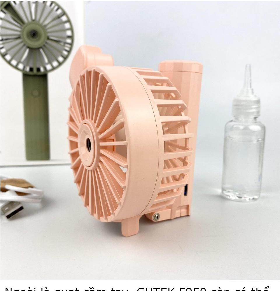 Quạt phun sương mini cầm tay gấp gọn, có sạc tích điện lại và tiết kiệm năng lượng, có thể dùng kèm tinh dầu, có 3 cấp độ gió.
