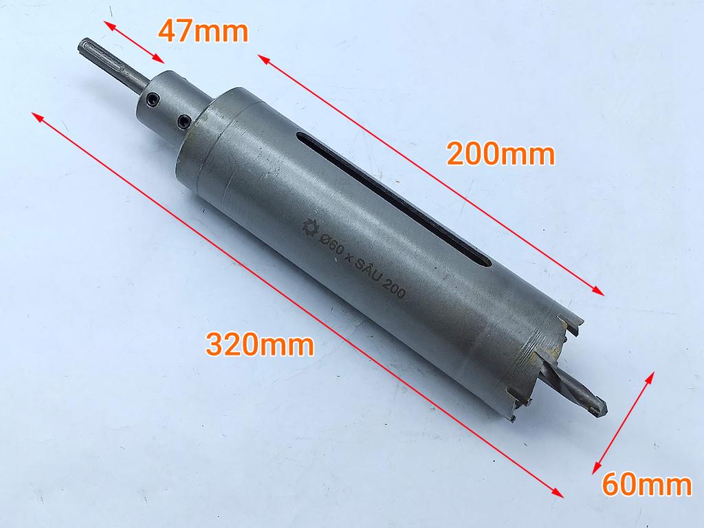 Mũi khoét tường đuôi gài Φ60 sâu 200mm