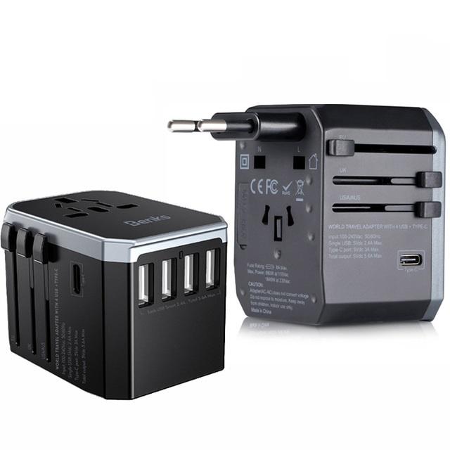 Bộ sạc du lịch đa năng Universal Travel Adapter Benks A29 (USB UK/ EU/ AU/ US) - Hàng chính hãng