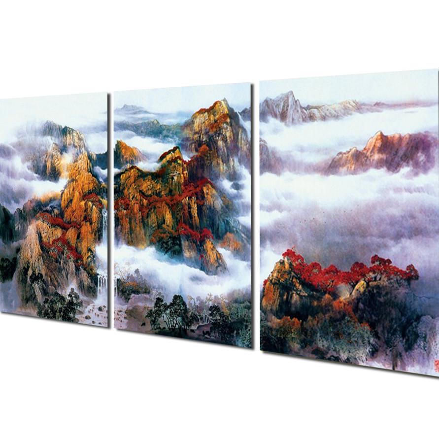 Tranh treo Tường 3D Thác nước sơn thủy PT84- Tranh treo tường phòng khách