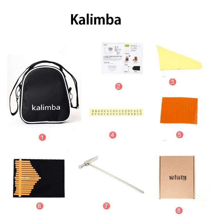 Đàn Kalimba W.I0000I 17 phím, Thumb Piano 17 keys - Full phụ kiện