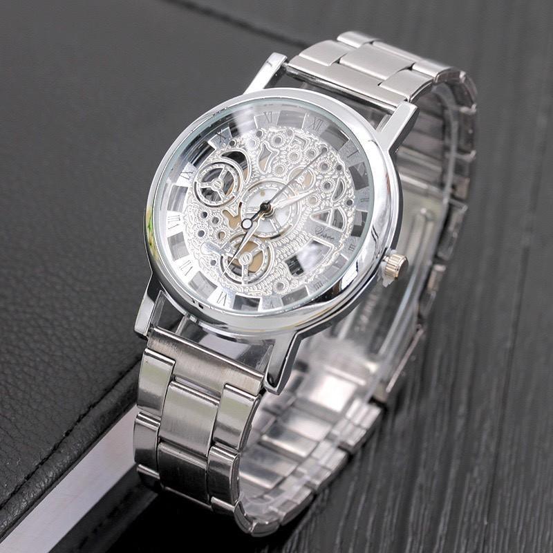 Đồng hồ cơ nam cao cấp dây đeo kim loại lịch lãm DH102
