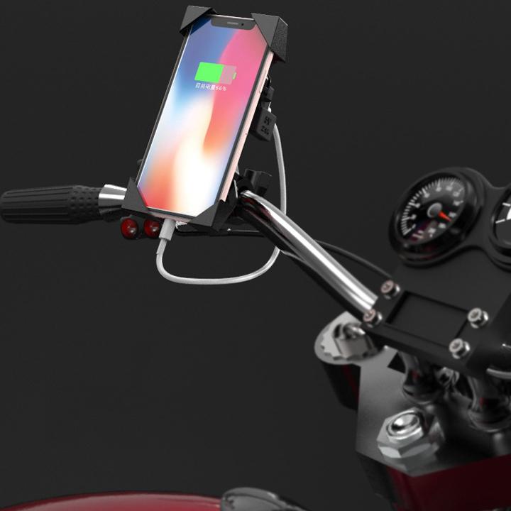 Giá Đỡ điện thoại có sạc USB dành cho xe Mô tô