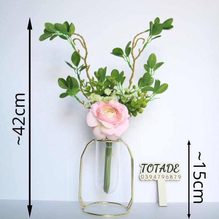 Bình hoa hiện đại - Khung kim loại lọ thủy tinh và hoa lụa - FLO0013