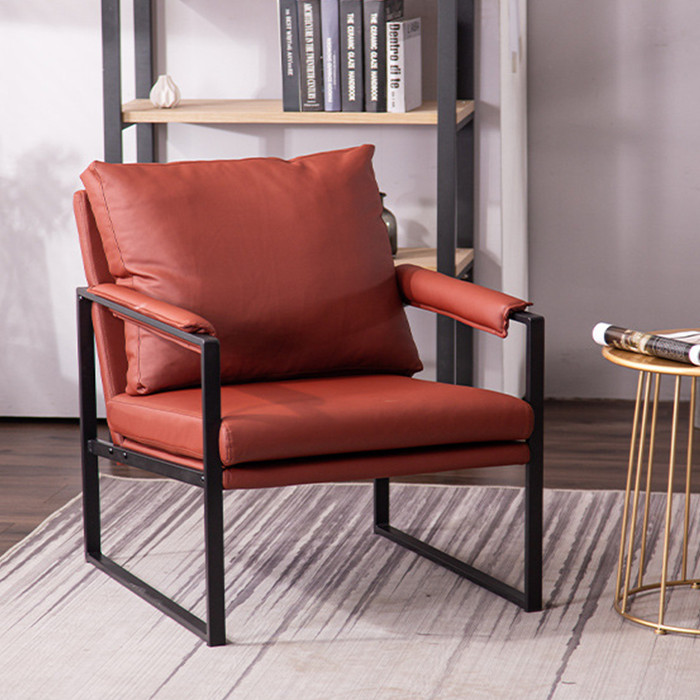Ghế Sofa Da Phong Cách Bắc Âu Trang Trí Phòng Khách - Ghế Sofa Đơn Tựa Lưng Thư Giãn Cao Cấp - Decor Nhà Đẹp