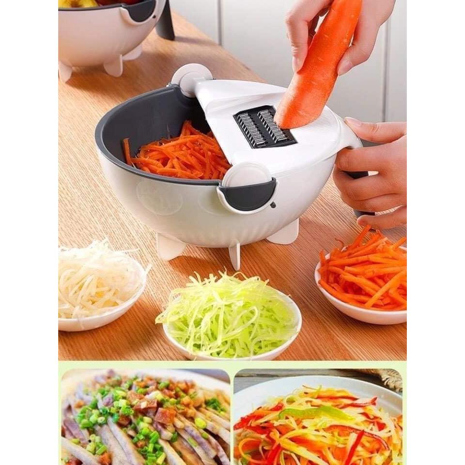 Bộ dụng cụ nạo rau củ quả đa năng 9 trong 1 kèm rổ đựng đa năng tiện dụng