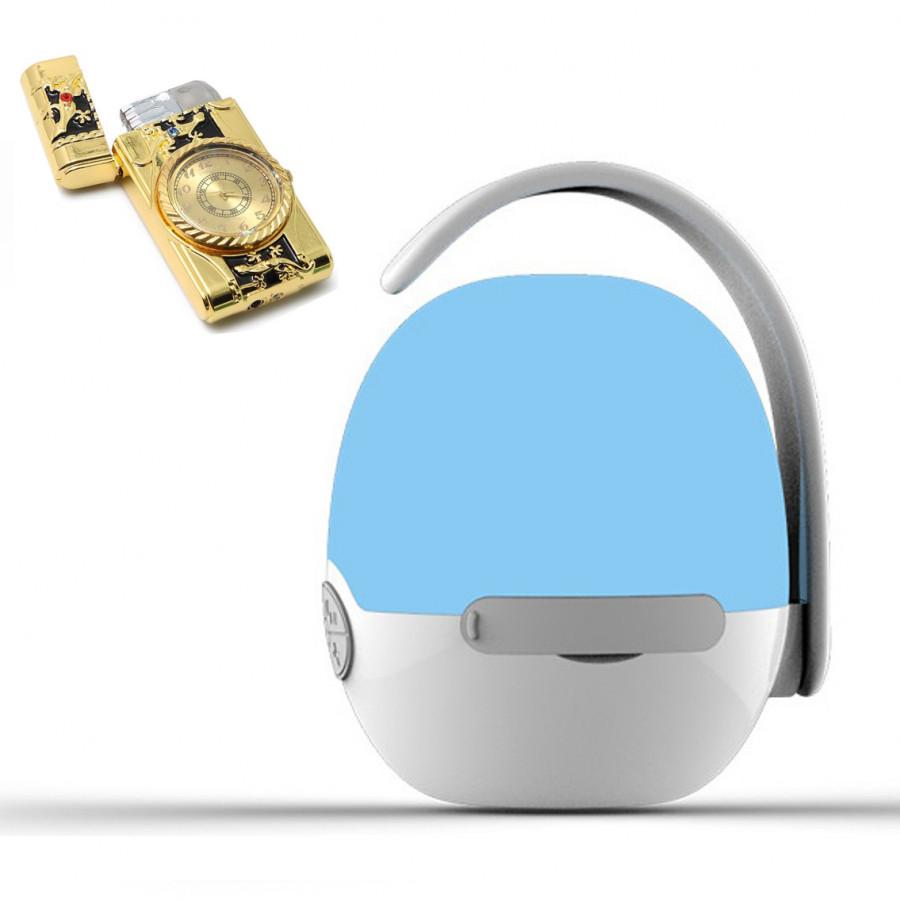Loa nghe nhạc mini siêu trầm hình quả trứng hỗ trợ bluetooth, thẻ nhớ, kết nối đàm thoại + Hộp quẹt bật lửa khò kiêm đồng hồ thơi thượng (Màu ngẫu nhiên)