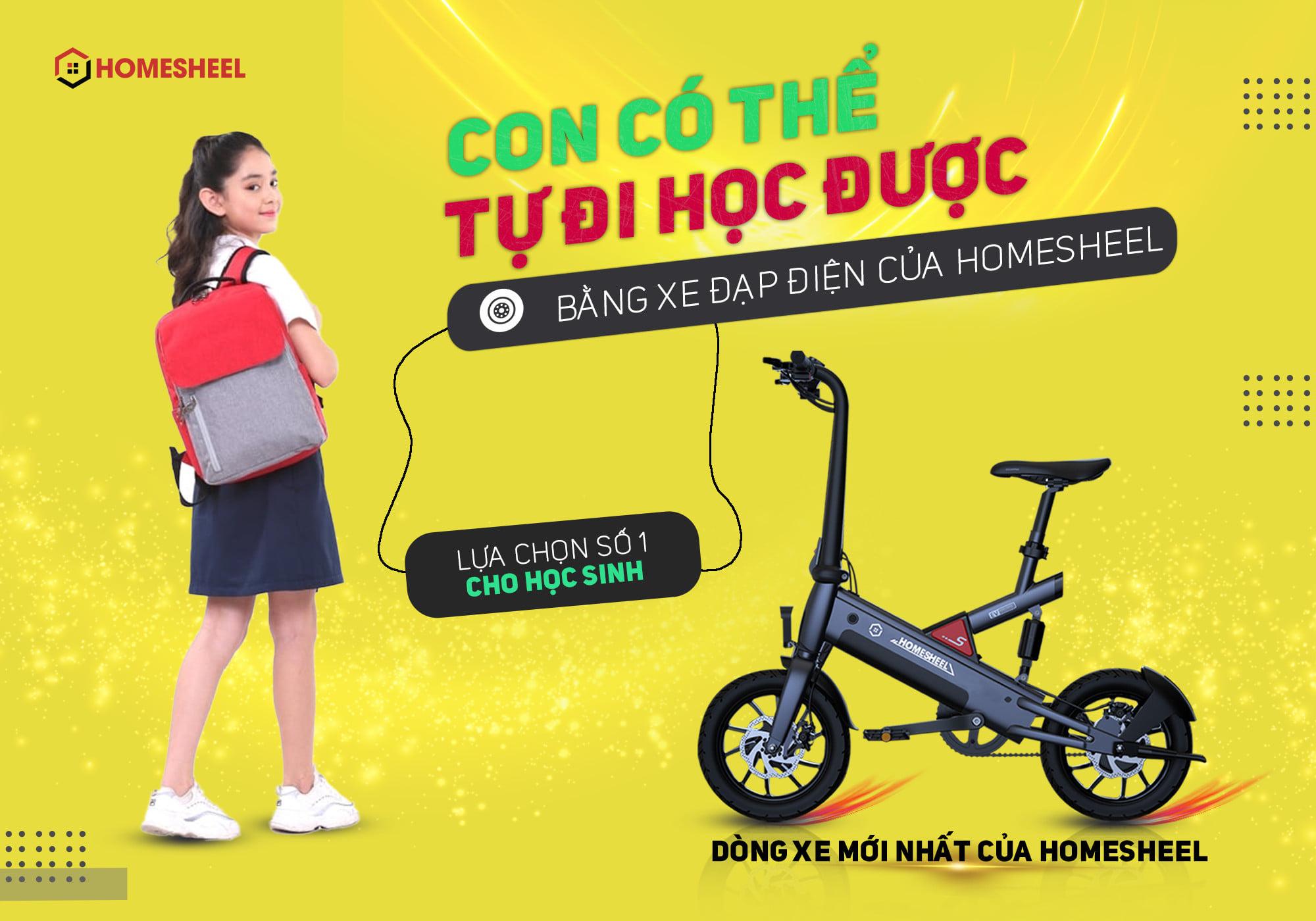 Xe đạp điện trợ lực thông minh Homesheel T6_10Ah Phiên bản mới nhất ( Màu Xanh đen)