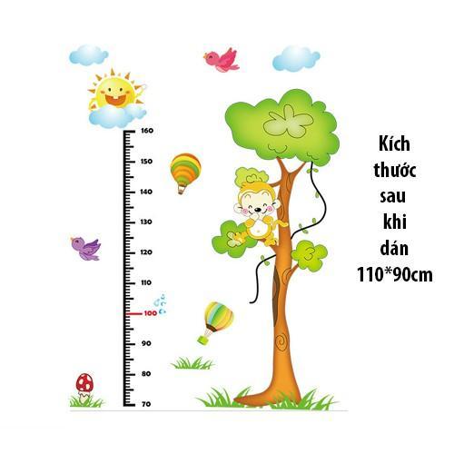 Combo 2 decal dán tường cho bé vườn táo và thước đo khỉ leo cây