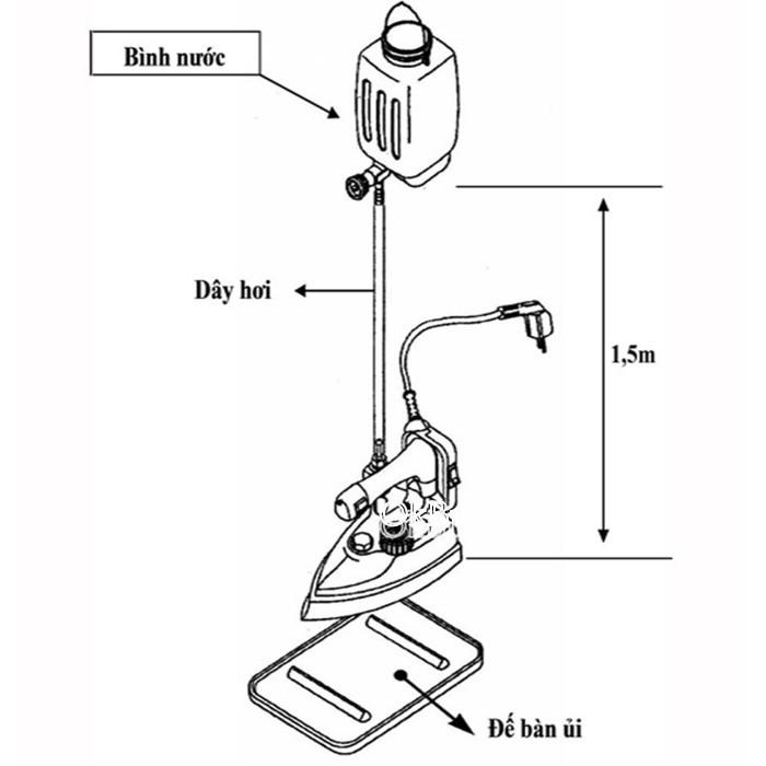 Bàn ủi hơi nước công nghiệp SilverStar EZ-300 (Đen) Tặng 1 đèn led gắn máy may 20 bóng