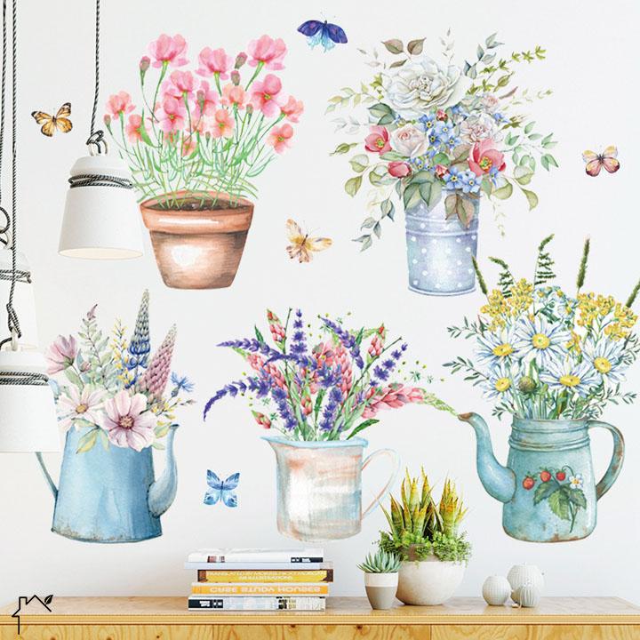 Decal dán tường trang trí phongf khách, tiệm cafe- 5 chậu hoa sắc màu- mã spDLV58