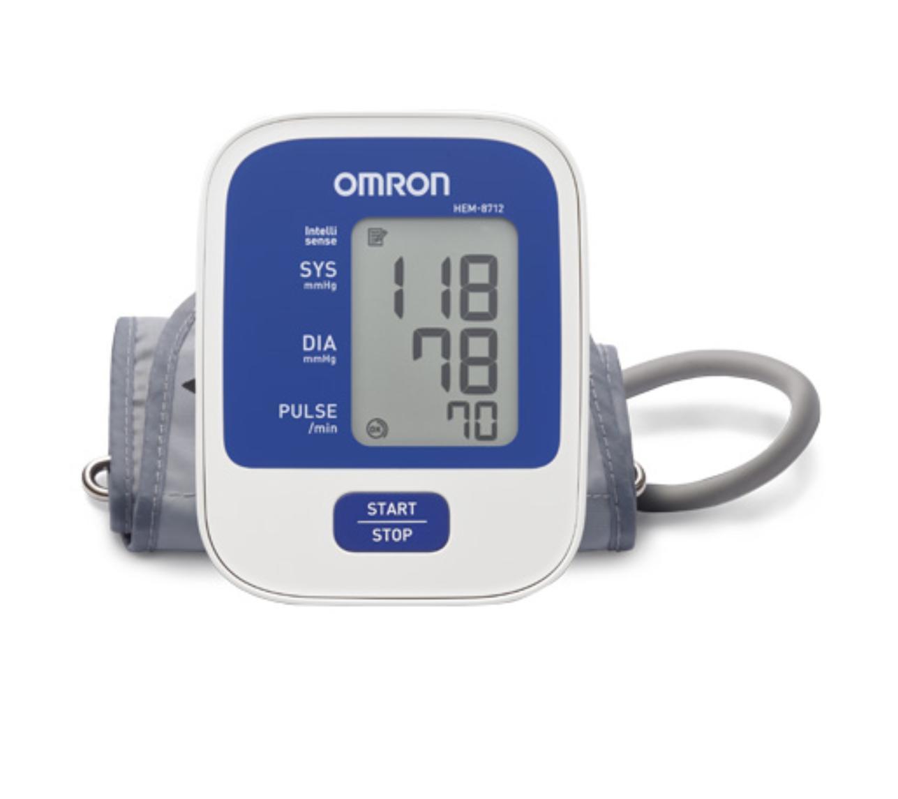 Máy đo huyết áp bắp tay OMRON HEM-8712 Tặng nhiệt ẩm kế cột cỡ đại Tanaka