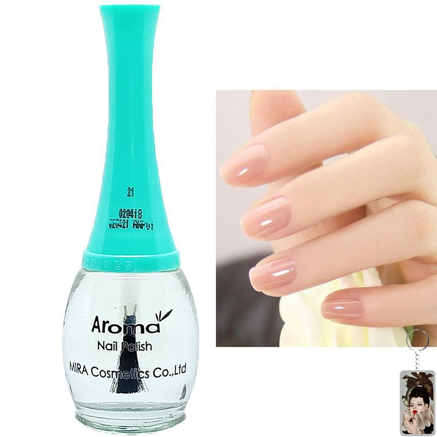 Sơn móng tay Aroma Nail Polish Hàn Quốc 12ml #21 sơn dưỡng tặng kèm móc khóa