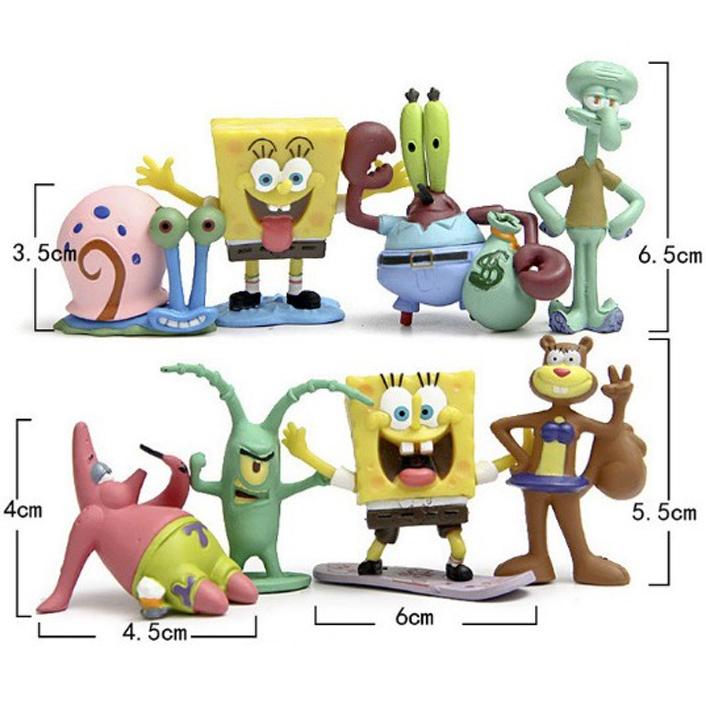 Bộ 08 Mô Hình Đồ Chơi Nhân Vật Sponge Bob - Bọt Biển Tinh Nghịch
