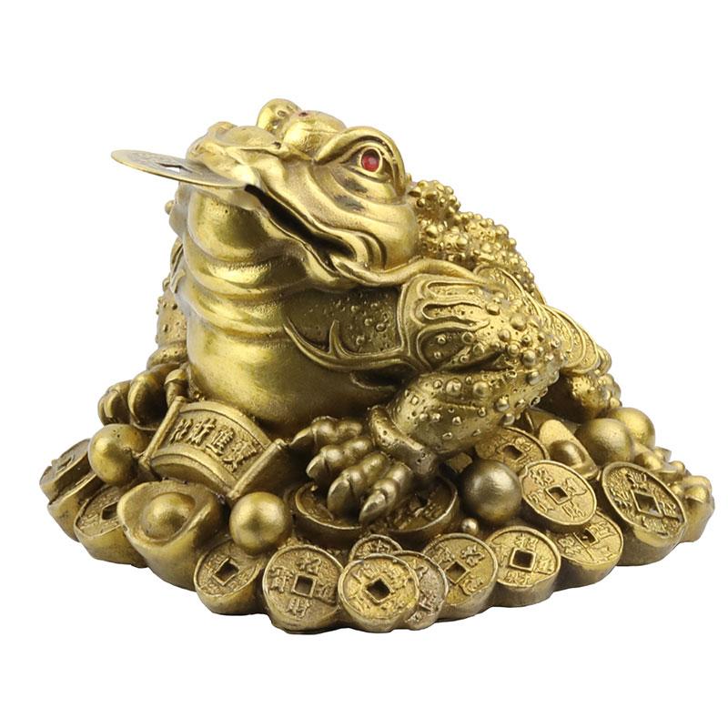 Cóc Thiềm Thừ Ngậm Tiền Vàng Bằng Đồng nhỏ (11cm) - Linh Vật Chiêu Tài Lộc Cho Ban Thờ Thần Tài Thêm Cát Khí