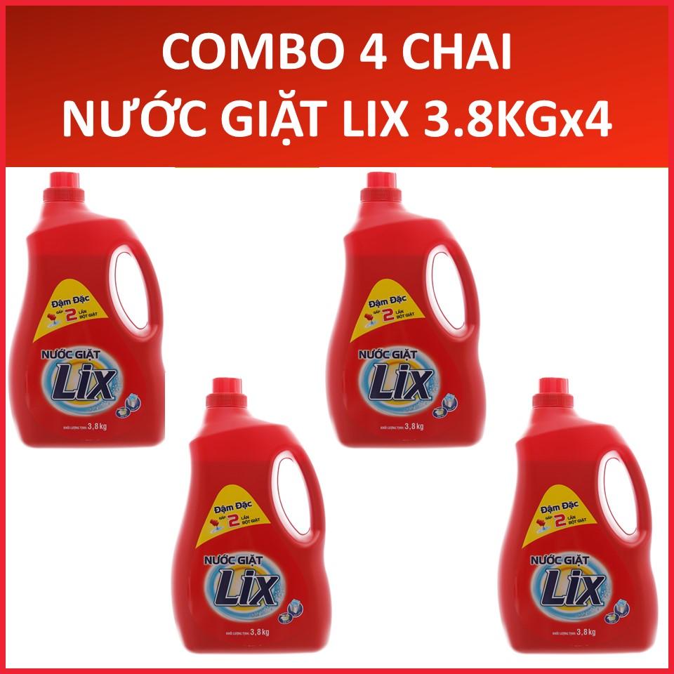 COMBO 4 Chai Nước giặt LIX Đậm đặc (Đỏ) 3.8KGX4