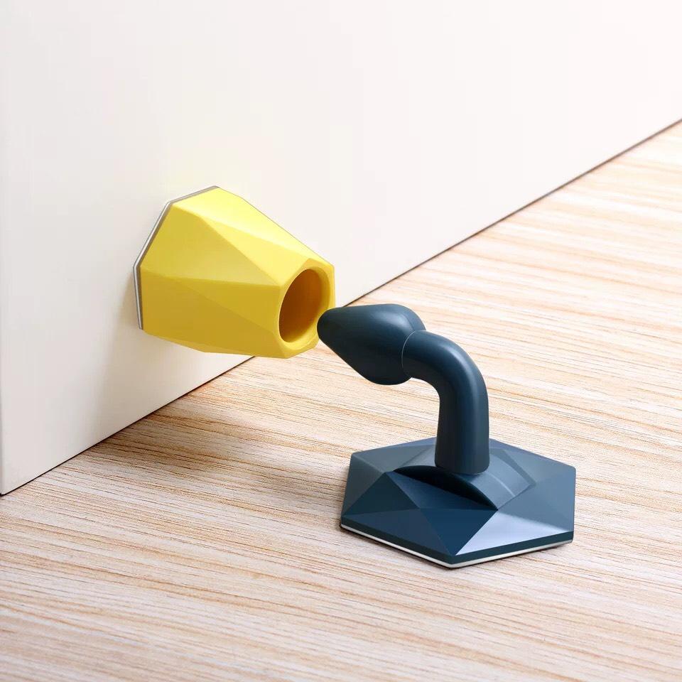 COMBO 2 Dụng Cụ Hít, Chặn Cửa Silicon Chống Va Đập Không Cần Khoan Tường Siêu Tiện Dụng ( giao màu ngẫu nhiên ) - Tặng 1 Móc Dán Cửa