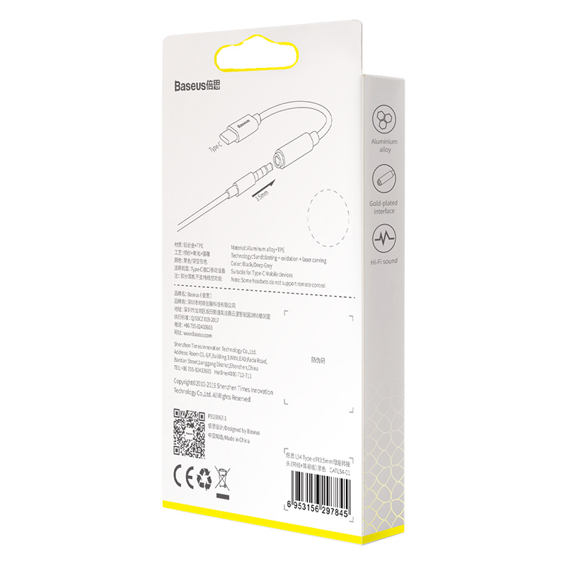 Cáp chuyển tín hiệu âm thanh từ USB Type-C ra 3.5mm Baseus L54 - Hàng nhập khẩu