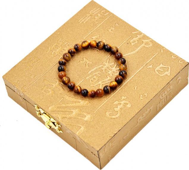 Vòng đeo tay chuỗi hạt đá mắt hổ vàng đen - Chuỗi đeo tay đá phong thủy, đem lại bình an, may mắn - 6 ly 24 hạt - Kèm hộp gỗ