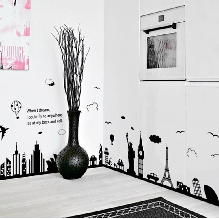 Decal dán tường Thành phố huyền ảo Trang trí quán đẹp