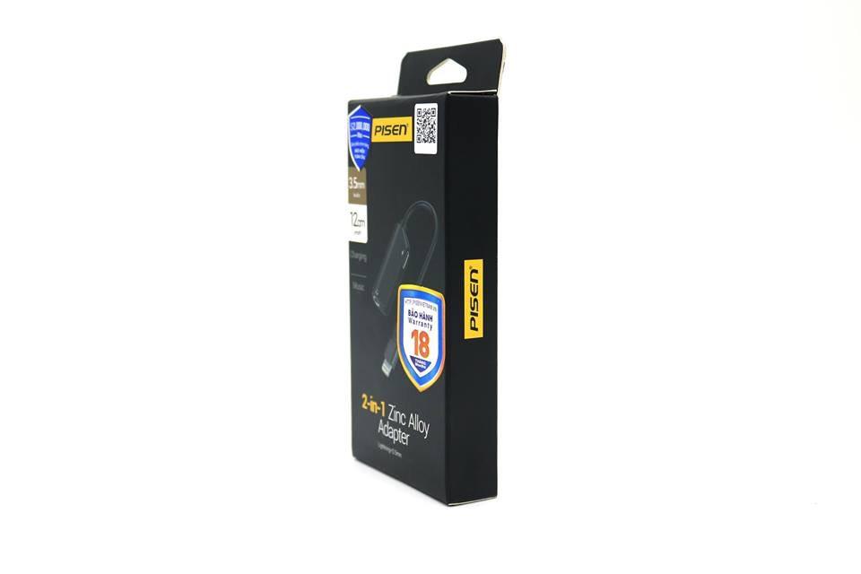 Cáp chuyển đổi lightning Pisen 2 in 1 Zinc Alloy (Dual Type C, 3.5mm, 12cm)_Hàng chính hãng