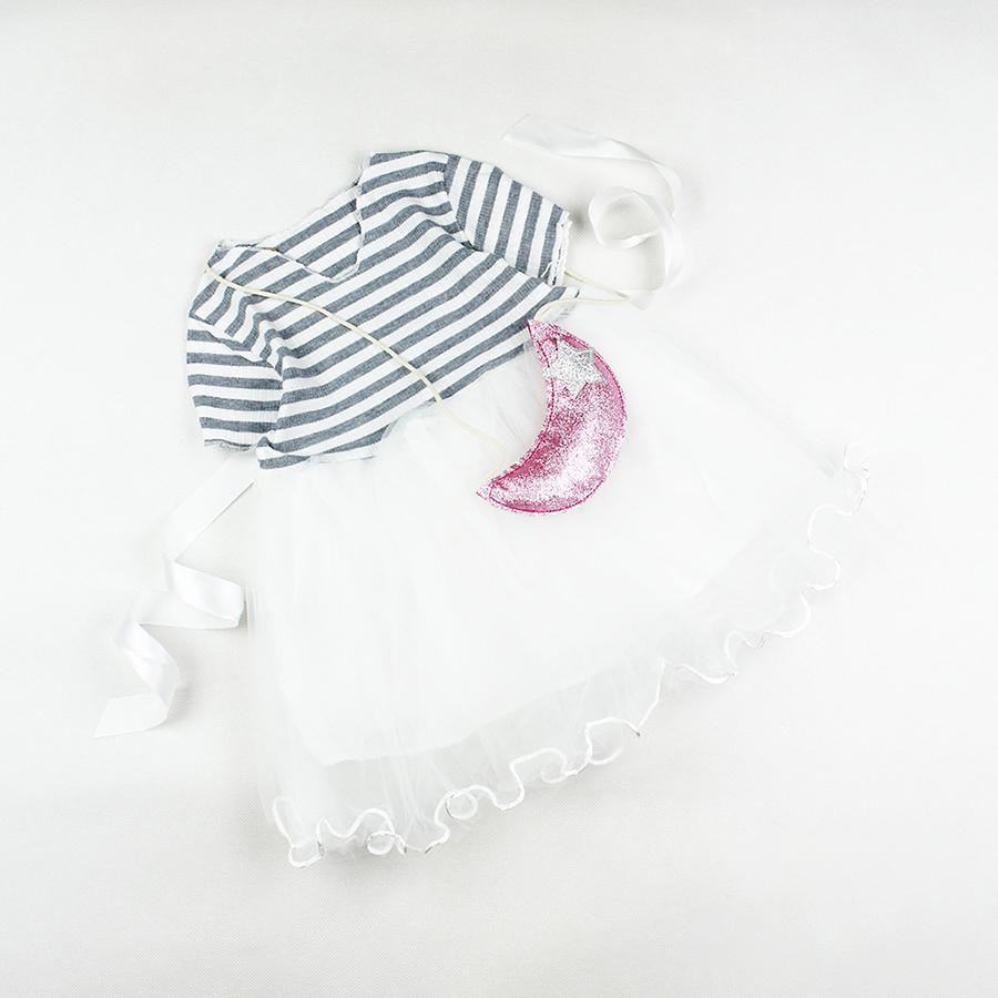 Đầm sọc xám voan nhiều lớp và túi mặt trăng siêu cưng cho bé gái 0.5-3 tuổi từ 10 đến 15 kg 01457