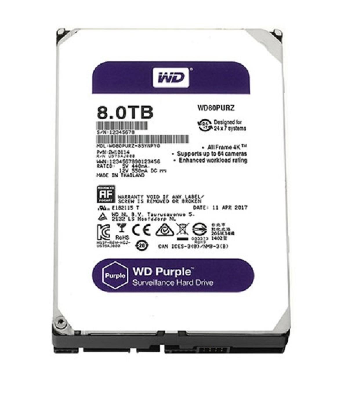 Ổ Cứng HDD Western Digital Purple 8TB 3.5 inch Sata 3 - Hàng Nhập Khẩu