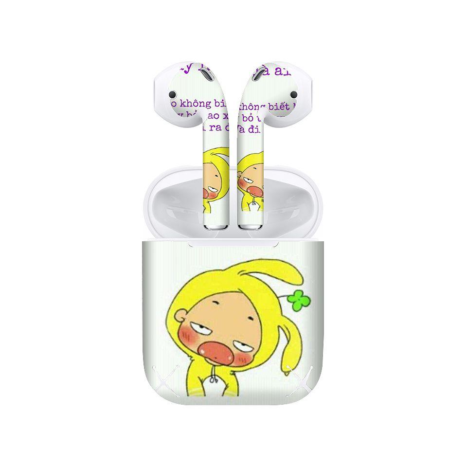 Miếng dán skin chống bẩn cho tai nghe AirPods in hình bỏ điện thoại xuống - fun019 (bản không dây 1 và 2)