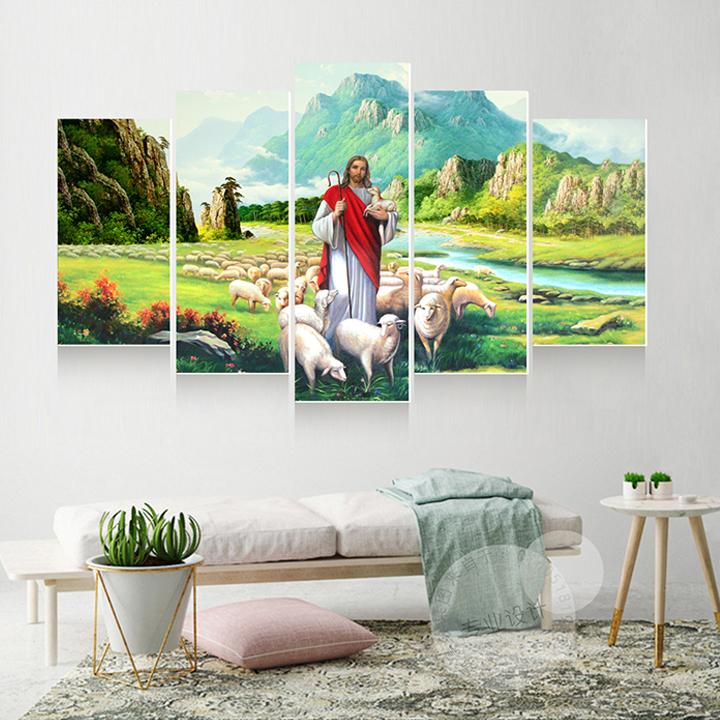 Tranh treo tường, tranh trang trí PP_ NT613 bộ 5 tấm ghép tôn giáo