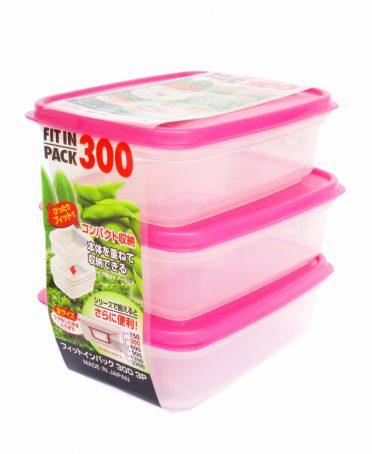 Set 3 hộp nhựa đựng thực phẩm Fitin Pack 300ml nội địa Nhật Bản
