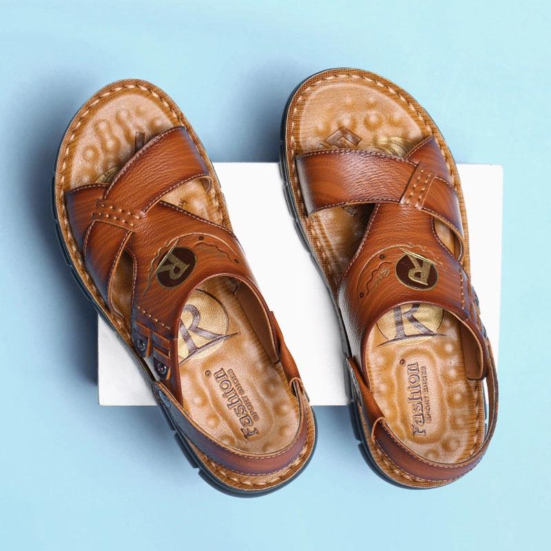 Giày Sandal công sở đế mềm da bò thật kiểu dáng Hàn Quốc thiết kế hiện đại mã 51632 - Vàng Nâu - 40