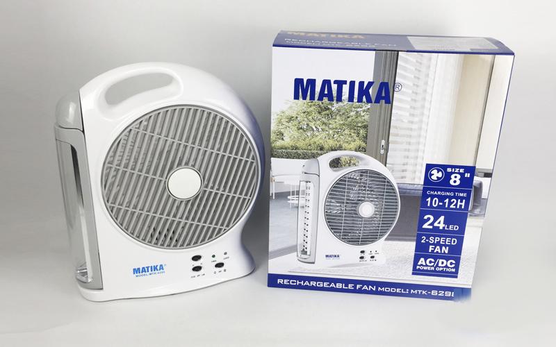 Quạt Tích Điện Matika MTK-6298 Nhỏ Gọn Có Đèn Led Hiện Đại Pin Khỏe -Hàng Chính Hãng