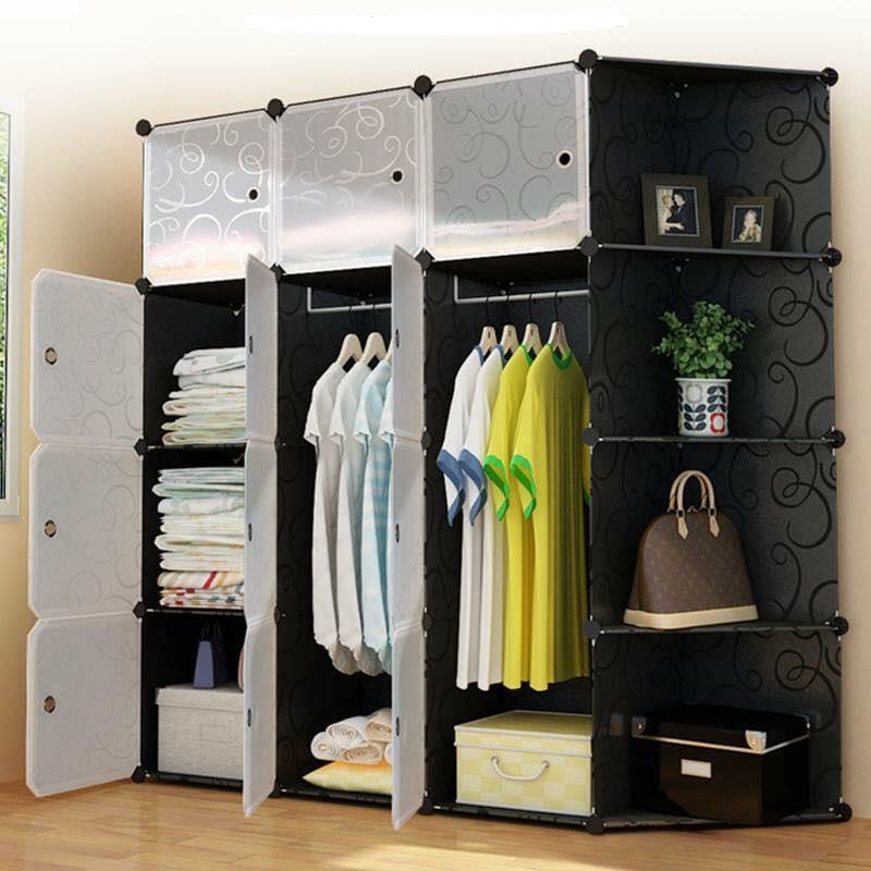 Tủ nhựa lắp ghép đa năng12 ô vuông + 4 góc xéo - Thân tủ đen- cửa trắng trong