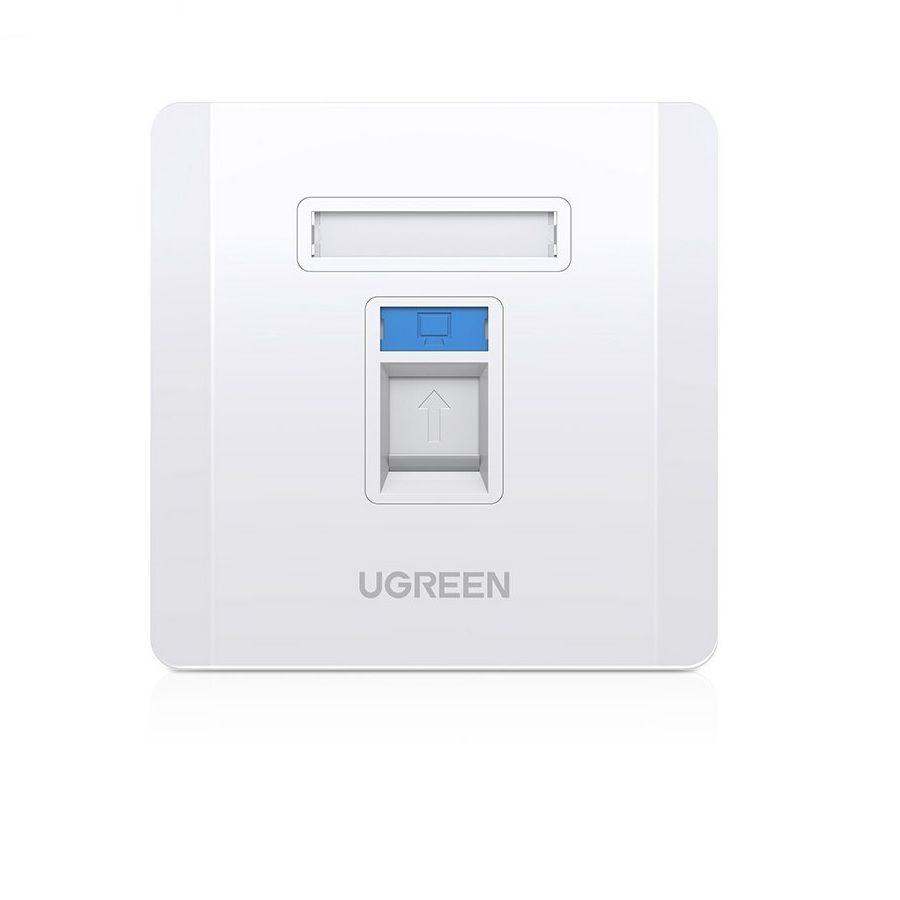 Mặt nạ mạng âm tường màu trắng LAN 1 cổng RJ45 hình vuông 86 mm x 86 mm Ugreen 80180 NW144 Hàng Chính Hãng