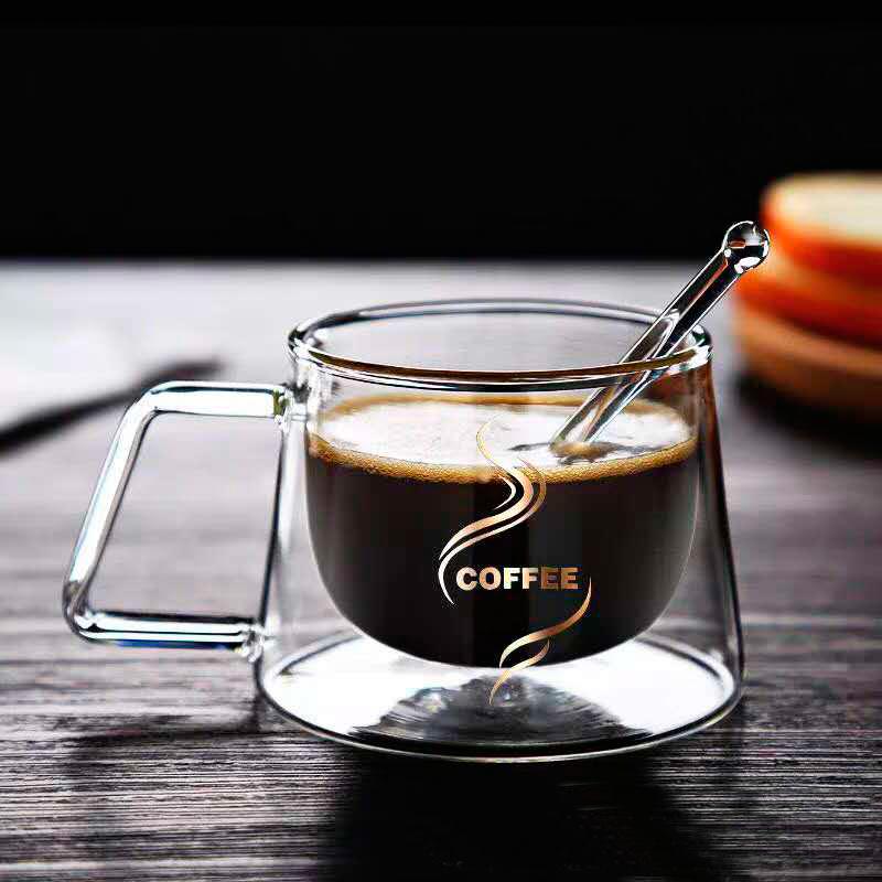 Ly Thủy Tinh 2 Lớp Chịu Nhiệt In Chữ Coffee Độc Lạ