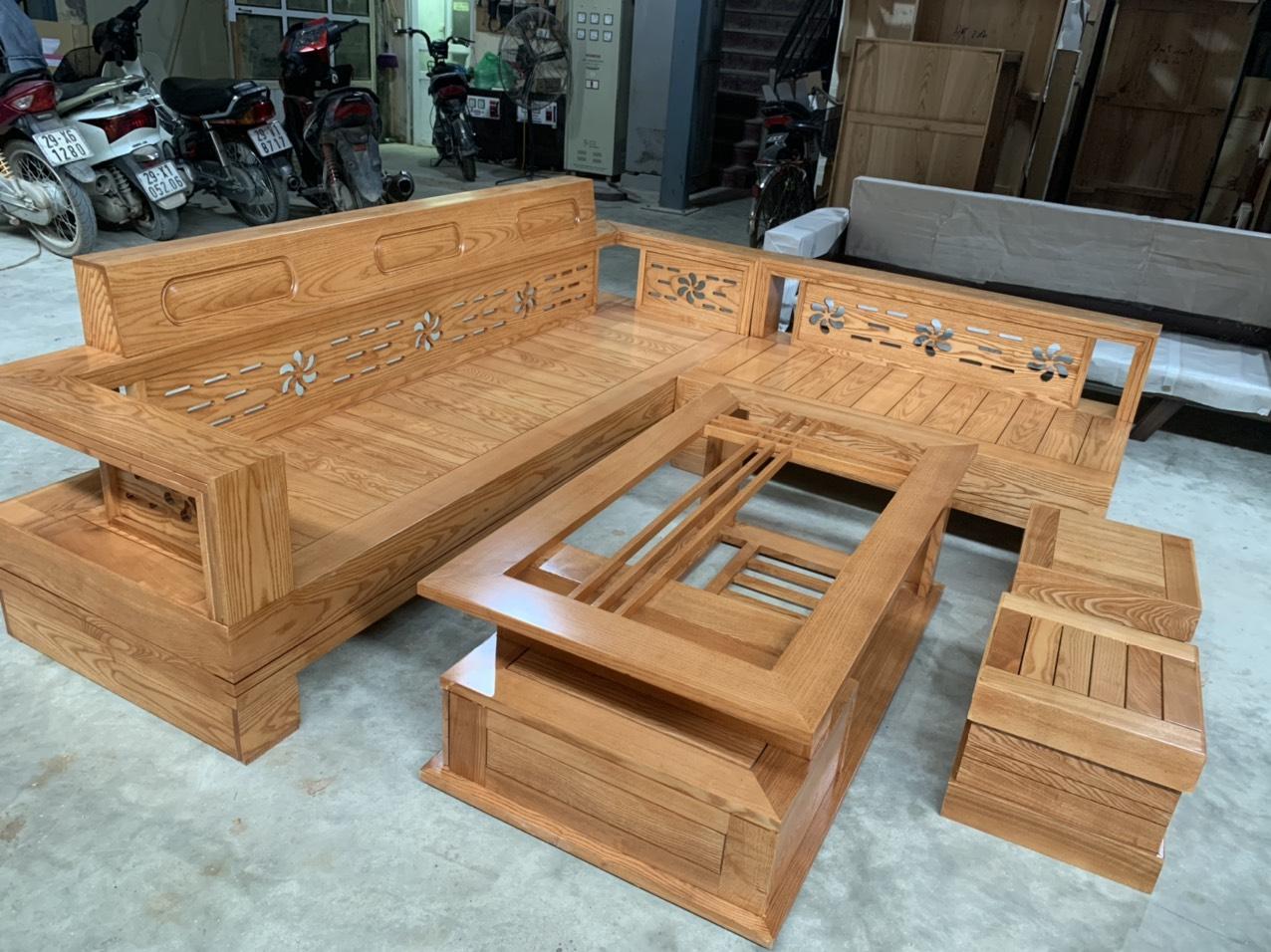 Sofa góc gỗ sồi mẫu hoa đục tựa cao GHC-01