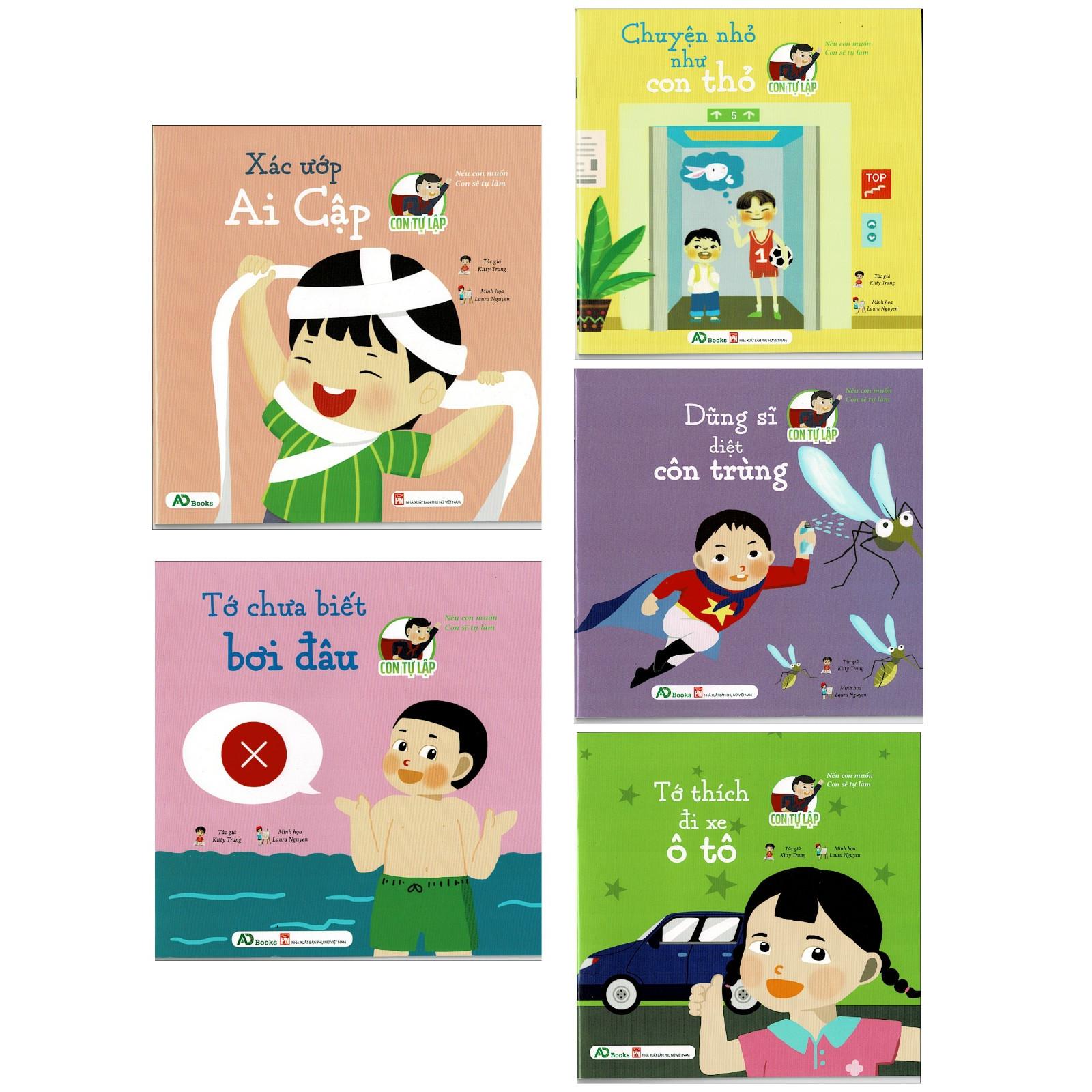 Bộ Sách Thiếu Nhi CON TỰ LẬP : Chuyện Nhỏ Như Con Thỏ + Dũng Sĩ Diệt Côn Trùng + Xác Ứơp Ai Cập + Tớ Thích Đi Xe Ô Tô + Tớ Chưa Biết Bơi Đâu  ( Bộ 5 Cuốn Sách Thiếu Nhi Hấp Dẫn Cho Trẻ. )